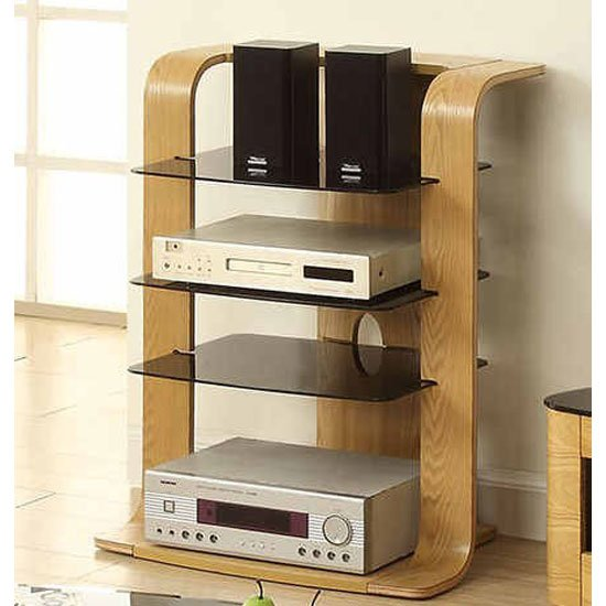 Read more about Curved hi-fi stand in oak veneer with glass shelves