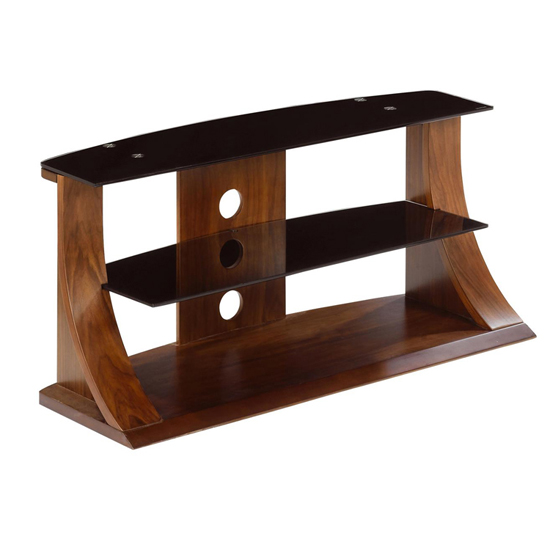 Curved Wooden LCD Plasma TV Stand In Walnut With Black Glass