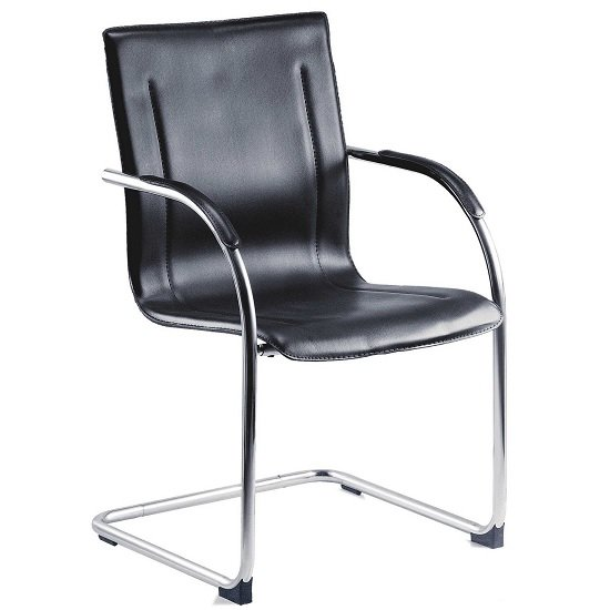 Jubilee Home Office Visitor Chair In Black PU With Chrome Frame