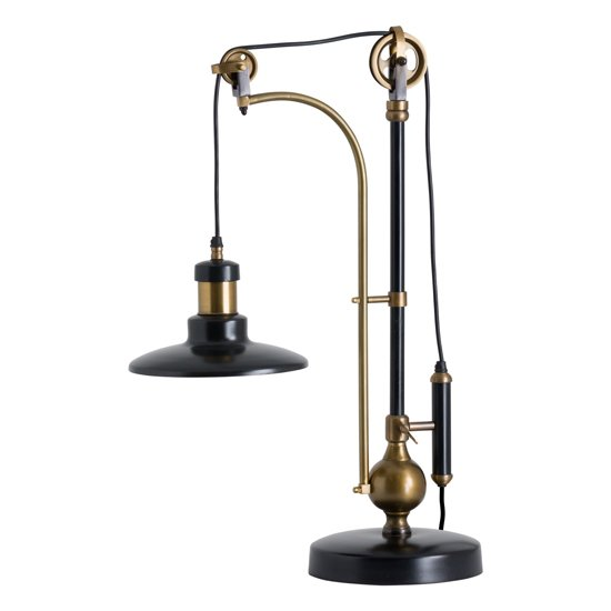 Judsonia Metal Adjustable Table Lamp In Black And Brass