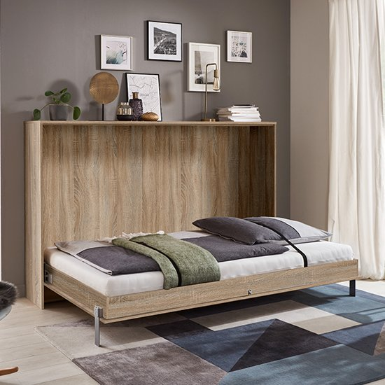Juist Wooden Horizontal Foldaway Double Bed In Planked Oak