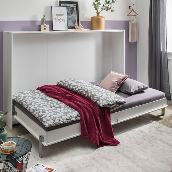 Juist Wooden Horizontal Foldaway Double Bed In White