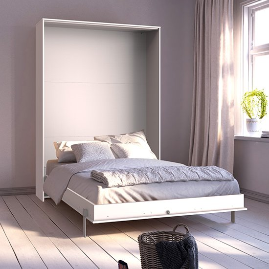 View Juist wooden vertical foldaway double bed in white
