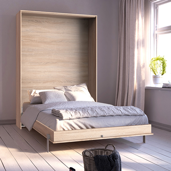 Juist Wooden Vertical Foldaway King Size Bed In Planked Oak