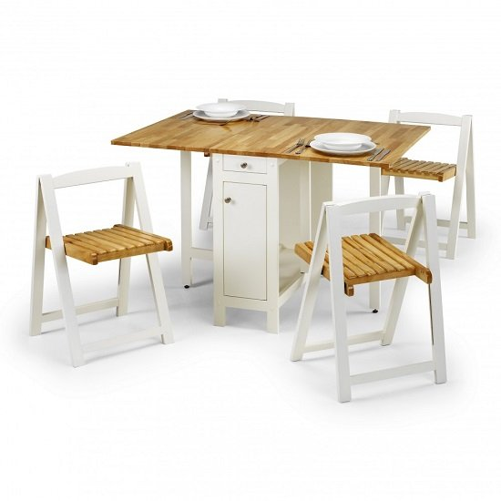 Selina Dining Set In Natural And White With 4 Folding