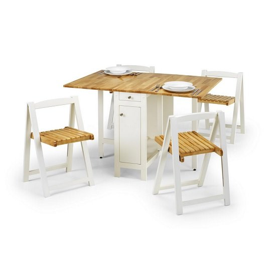 Selina Dining Set In Natural And White With 4 Folding Chairs_2