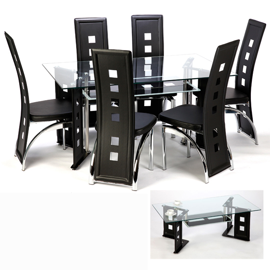 Black Glass V Shape Dining Table With 6 Black Dining  : juliet black and coffee from furnitureinfashion.net size 550 x 550 jpeg 130kB