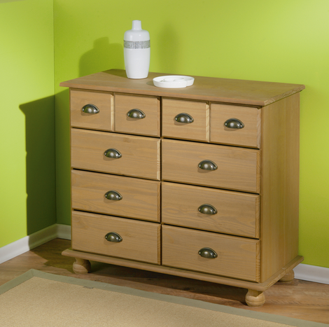 Portland Chest Of Drawers In White Gloss And Oak With 5 Draw