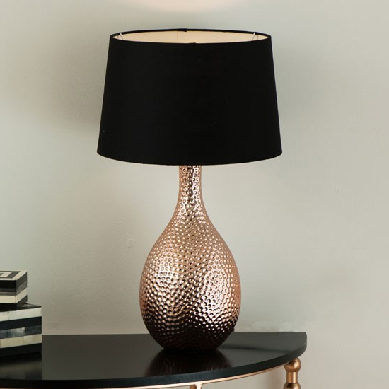Juliwok Black Fabric Shade Table Lamp With Copper Base