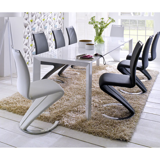 Jumbo Extending Dining Table In White Gloss And 8 Chairs