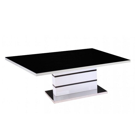 Jupiter High Gloss Coffee Table In White With Black Glass Top