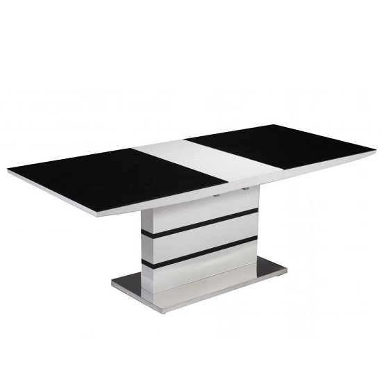 Jupiter Gloss Extendable Dining Table White And Black Glass Top