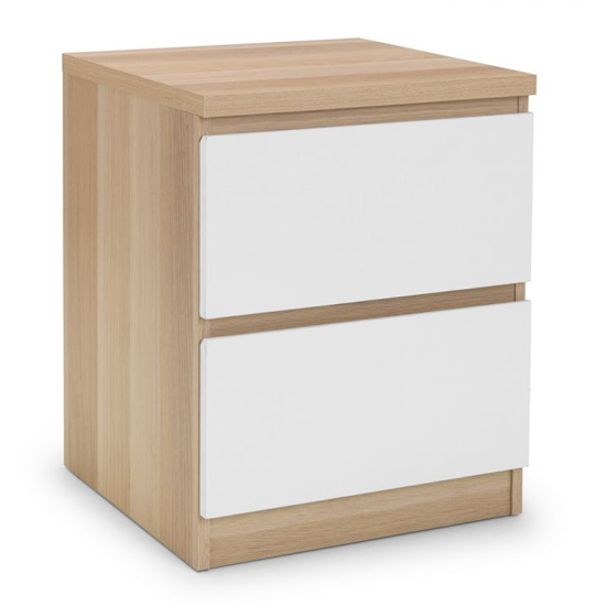 Jupiter Bedside Cabinet In Oak And White With 2 Drawers_2