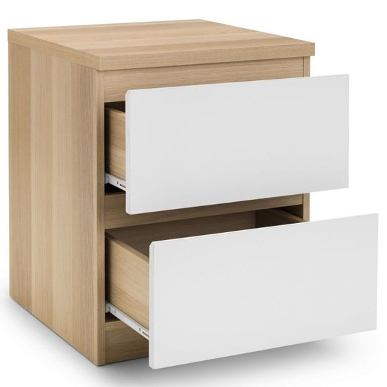 Jupiter Bedside Cabinet In Oak And White With 2 Drawers_4