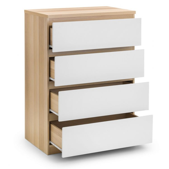 Jupiter Chest Of Drawers In Oak And White Gloss With 4 Drawers_4