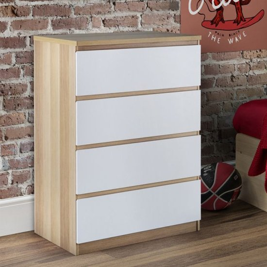 Jupiter Chest Of Drawers In Oak And White Gloss With 4 Drawers