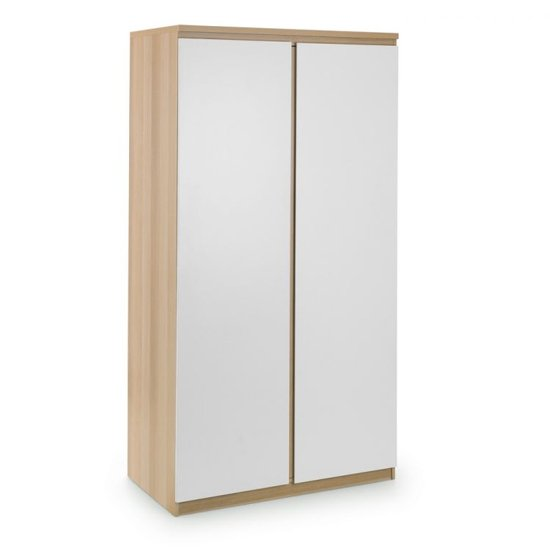 Jupiter Wooden Wardrobe In Oak And White With 2 Doors