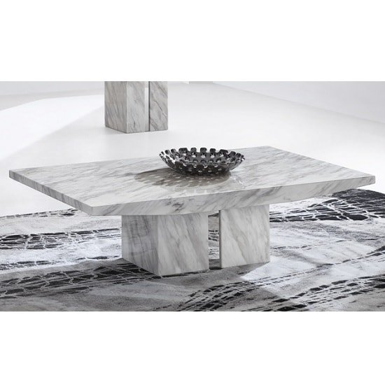 White Marble Top Coffee Table Rectangle: Jupiter Marble Coffee Table Rectangular In White Carrera