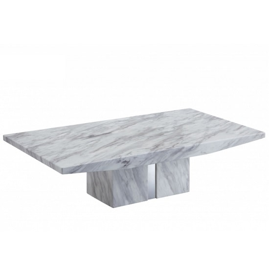 Jupiter Marble Coffee Table Rectangular In White Carrera