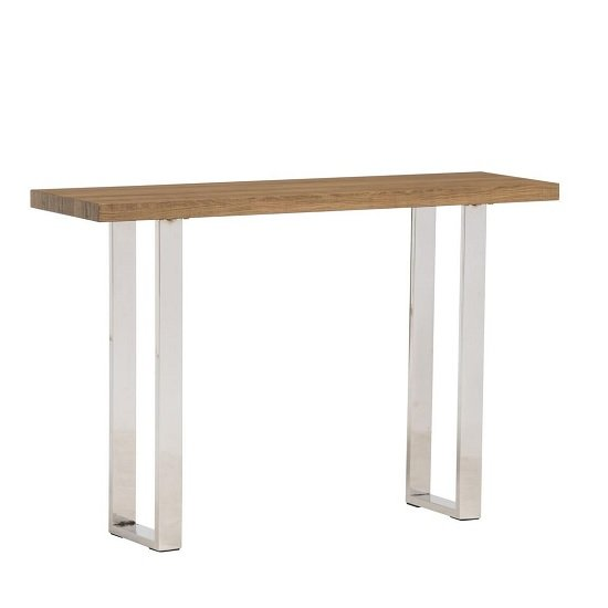 Justin Console Table In Rustic Oak And Stainless Steel Frame