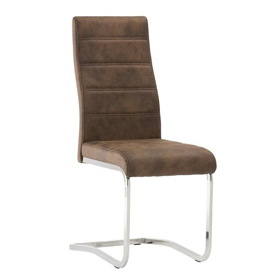Justin Cantilever Dining Chair In Brown PU With Chrome Base