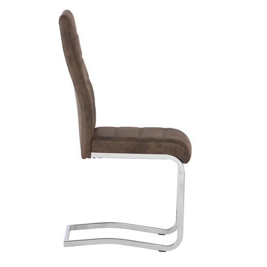 Justin Cantilever Dining Chair In Brown PU With Chrome Base_2