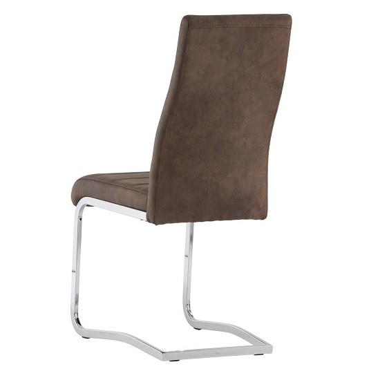 Justin Cantilever Dining Chair In Brown PU With Chrome Base_3