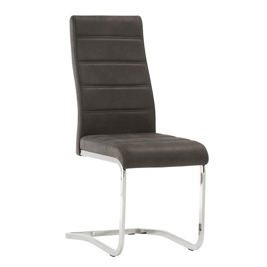 Justin Cantilever Dining Chair In Grey PU With Chrome Base_1