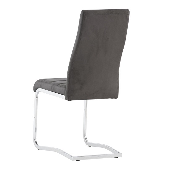 Justin Cantilever Dining Chair In Grey PU With Chrome Base_2