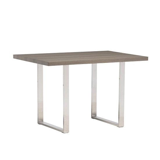 Justin Dining Table Small In Grey Oak And Stainless Steel Frame
