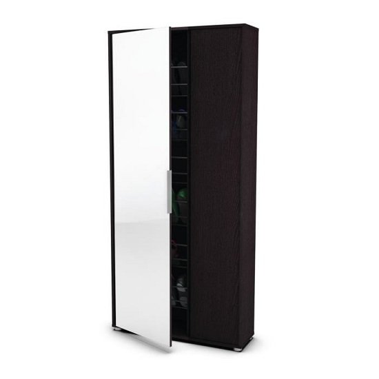 Justin Mirrored Shoe Storage Cupboard In Ebony With 2 Doors_2