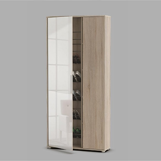 Justin Mirrored Shoe Cupboard In Brushed Oak With 2 Doors_1