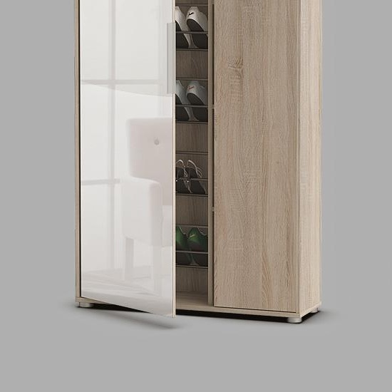 Justin Mirrored Shoe Cupboard In Brushed Oak With 2 Doors_2