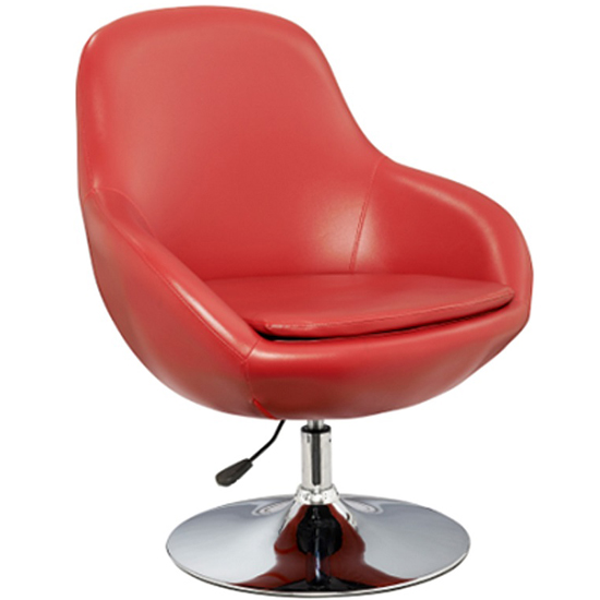 Justin Tub Chair In Red Faux Leather With Chrome Base