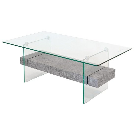 Juvenile Glass Coffee Table In Clear With Concrete Style Shelf