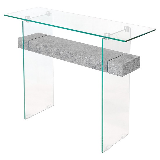 Jessie Glass Console Table In Clear With Concrete Style Shelf