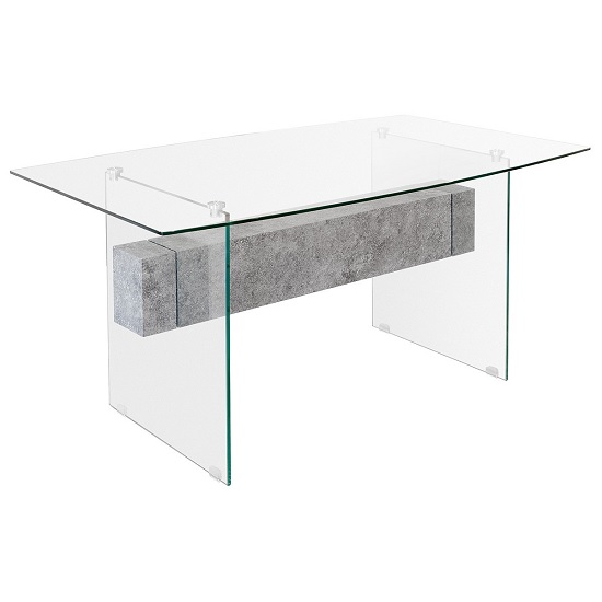 Jessie Glass Dining Table In Clear With Concrete Style Shelf