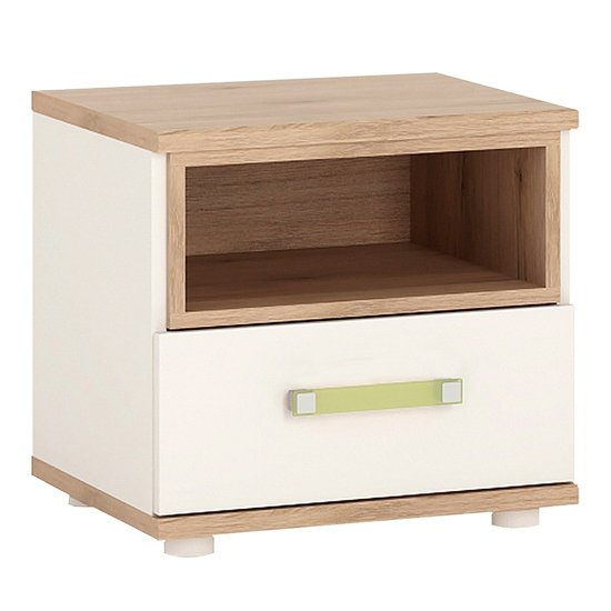 Kaas Wooden Bedside Cabinet In White High Gloss And Oak