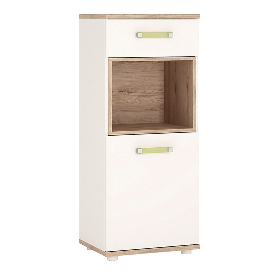 Kaas Wooden Narrow Storage Cabinet In White High Gloss And Oak