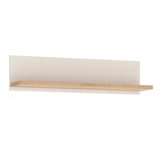 Kaas Wooden Small Wall Shelf In White High Gloss And Oak