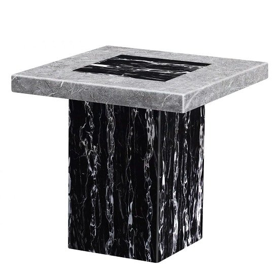 Kabino Contemporary Marble Lamp Table Square In White And Black