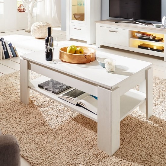 Kaira Wooden Coffee Table Rectangular In White Pine