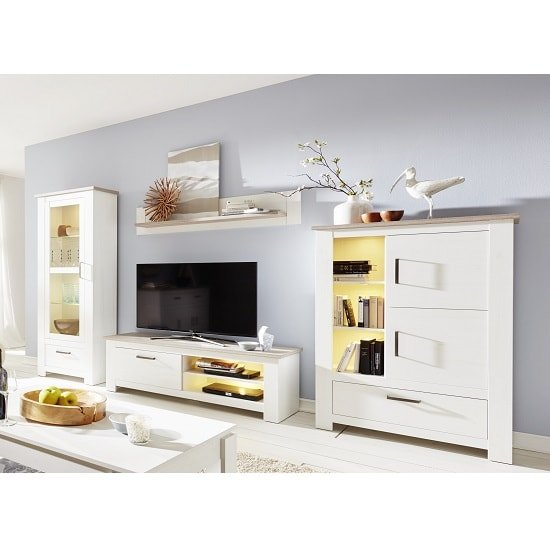 Kaira Living Room Set 1 In White Pine And Nelson Oak With LED