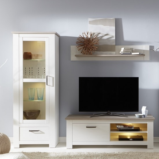 Kaira Living Room Set 2 In White Pine And Nelson Oak With LED