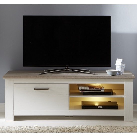 Kaira Wooden TV Stand In White Pine And Nelson Oak With LED