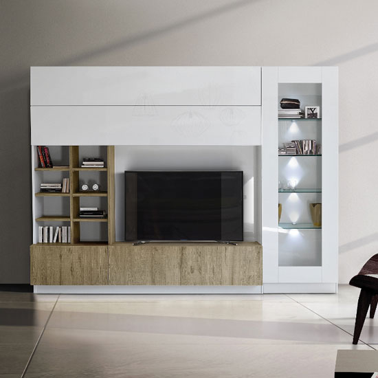 View Kalani white high gloss large entertainment unit in honey oak