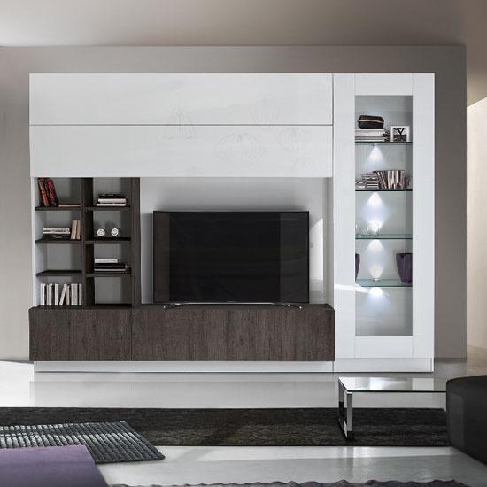 View Kalani white high gloss large entertainment unit in wenge oak