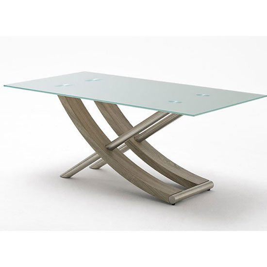 Kaleo Frosted Glass Dining Table With X Shape Oak Base 180