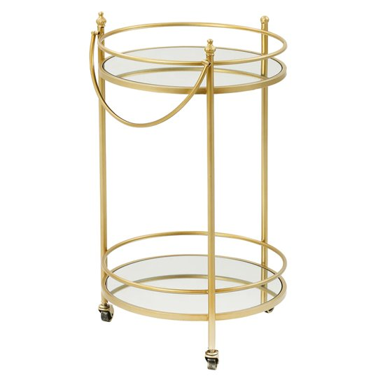 Kali Mirrored Glass Drinks Trolley In Matt Gold Metal Frame