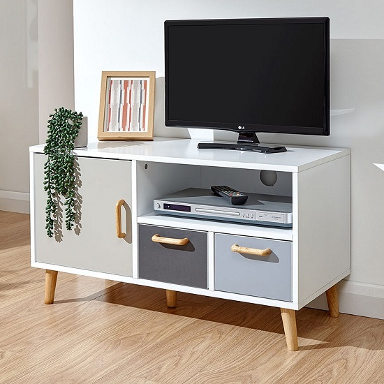 Kallie Wooden Small TV Stand In White With One Door